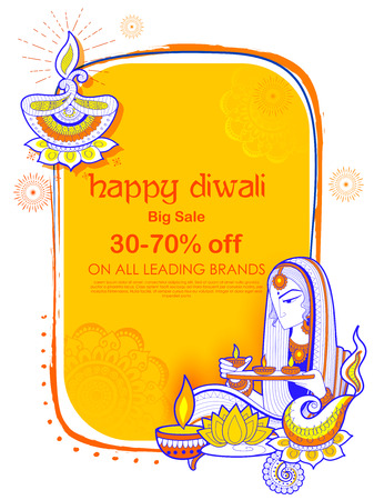 traditional culture: Lady burning diya on Happy Diwal Holiday Sale promotion advertisement background for light festival of India