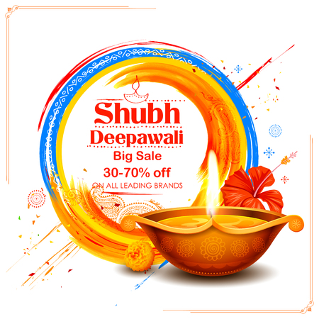 Burning diya on Shubh Deepawali meaning Happy Diwali Holiday Sale promotion advertisement background for light festival of India