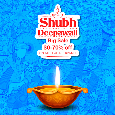 people: Burning diya on Shubh Deepawali meaning Happy Diwali Holiday Sale promotion advertisement background for light festival of India