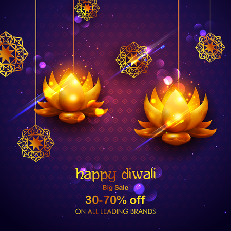 Happy Diwali Holiday Sale promotion advertisement background for light festival of India