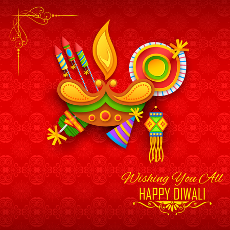 Happy Diwali background with diya and firecracker for light festival of India