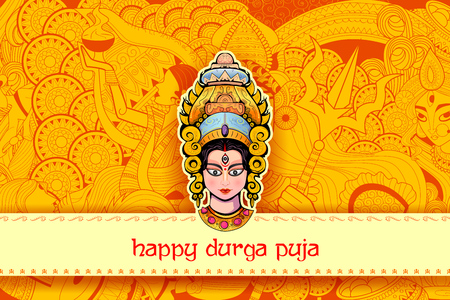 illustration of Goddess Durga Face in Happy Durga Puja background