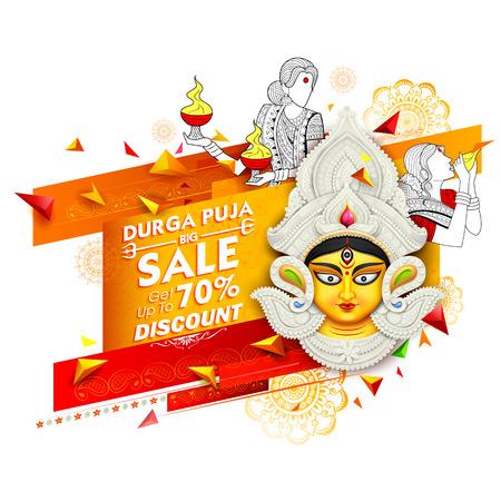illustration of Goddess Durga in Subho Bijoya Happy Dussehra Sale Offer background Ilustrace