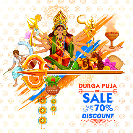 illustration of Goddess Durga in Subho Bijoya Happy Dussehra Sale Offer background Illustration
