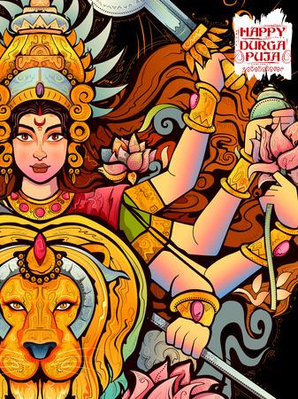 bengal: illustration of Goddess Durga in Subho Bijoya Happy Dussehra background