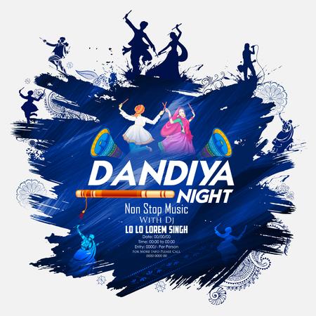 디스코, Garba 나이트 포스터에서 Dandiya를 연주하는 커플 일러스트