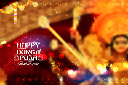 kolkata: Goddess Durga in Happy Dussehra background with bengali text Sharod Shubhechha meaning Autumn greetings Illustration