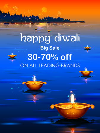 Burning diya on happy Diwali Holiday Sale promotion advertisement