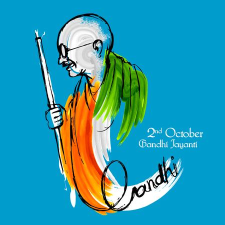 第 2 回 10 月ガンジー Jayanti 誕生日お祝いのマハトマ ・ ガンジー インドの背景のイラスト  イラスト・ベクター素材