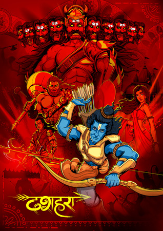 illustration of Lord Rama with bow arrow killing Ravan in Dussehra Navratri festival of India poster Ilustrace