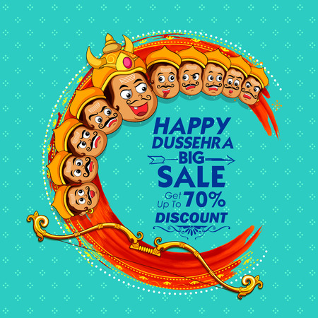Raavana with ten heads for sale promotion of Navratri Dussehra festival of India poster