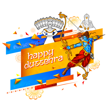Lord Rama and ten headed Ravana for Happy Dussehra Navratri sale promotion festival of India