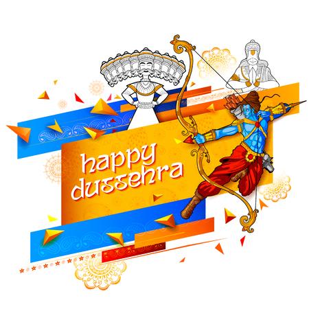Lord Rama y diez encabezados Ravana para Feliz Dussehra Navratri festival de promoción de venta de la India