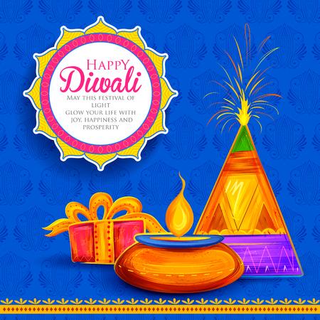 Burning diya on Happy Diwali Holiday background for light festival of India Ilustração