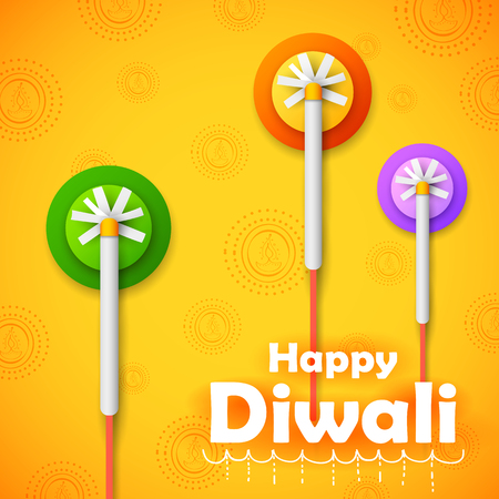 illustration of colorful firecracker on Happy Diwali Holiday background for light festival of India