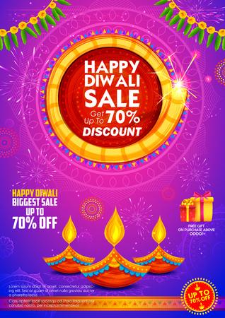 illustration of burning diya on Happy Diwali Holiday Sale promotion advertisement background for light festival of India Illustration