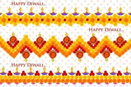 Burning diya on Happy Diwali Holiday background for light festival of India Illustration
