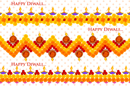 Burning diya on Happy Diwali Holiday background for light festival of India Vectores