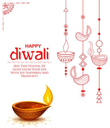 Diya accese su Happy Diwali Holiday Sfondo per il festival leggero dell & # 39 ; India Vettoriali