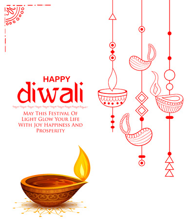 Burning diya on Happy Diwali Holiday background for light festival of India Illustration