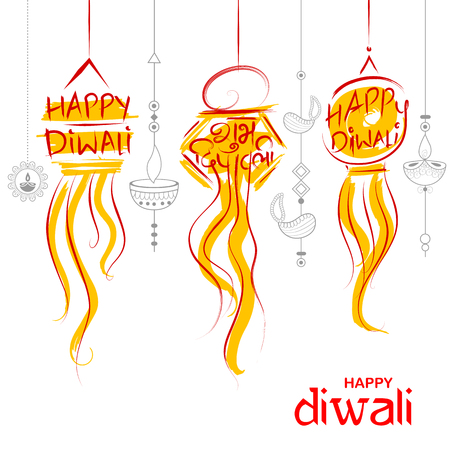 Hanging Kandil Diwali Holiday background for light festival of India with message in Hindi meaning Happy Dipawali