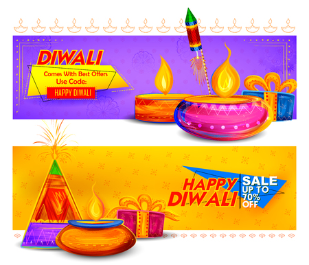Burning diya on Happy Diwali Holiday Sale promotion advertisement background for light festival of India