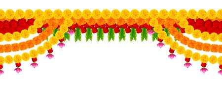 Flower garland decoration toran for Happy Diwali Holiday background 일러스트