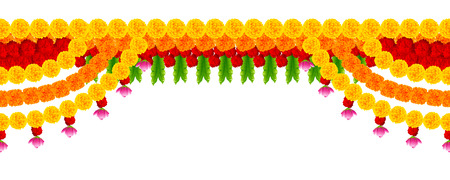 Flower garland decoration toran for Happy Diwali Holiday background Illusztráció