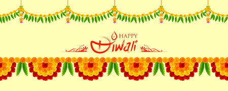An illustration of Flower garland decoration toran for Happy Diwali Holiday background