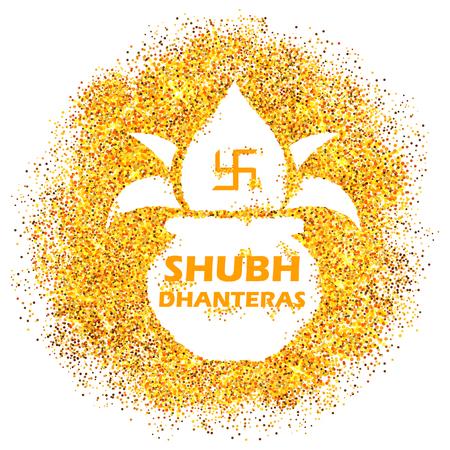 인도 배경의 해피 Dussehra 빛 축제에 Dhanteras 축하에 대 한 골드 냄비의 그림