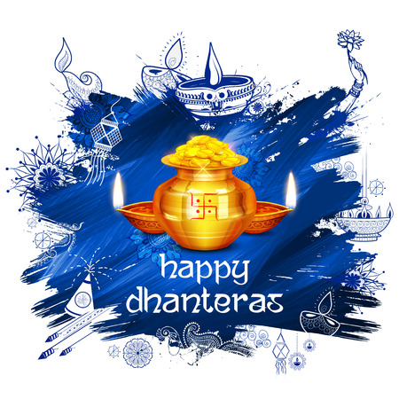 illustration of Gold coin in pot for Dhanteras celebration on Happy Dussehra light festival of India background