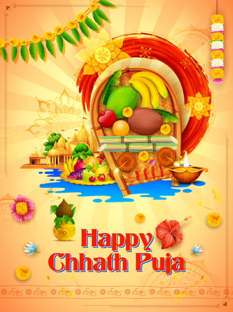 Happy Chhath Puja Holiday design for Sun festival of India