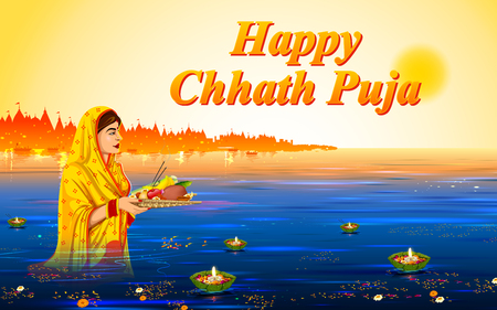 illustration of Happy Chhath Puja Holiday background for Sun festival of India Illustration