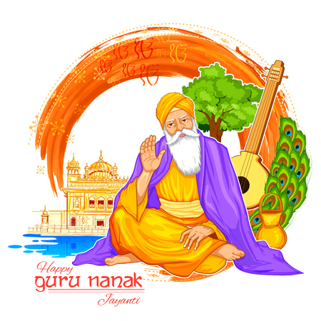 Happy Gurpurab, Guru Nanak Jayanti festival of Sikh celebration background Illusztráció