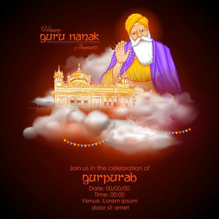 Happy Gurpurab, Guru Nanak Jayanti festival of Sikh celebration background Vektorové ilustrace