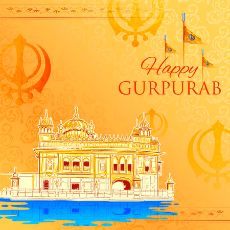 Happy Gurpurab, Guru Nanak Jayanti festival of Sikh celebration background Illustration