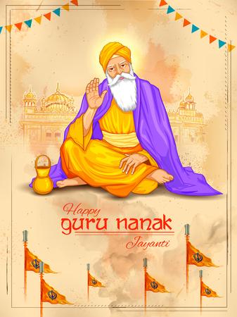 Happy Gurpurab, Guru Nanak Jayanti festival of Sikh celebration background Çizim