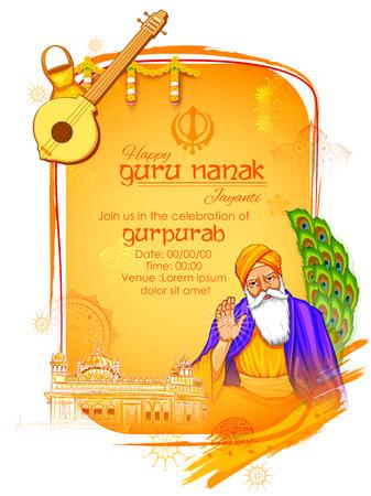 Happy Gurpurab, Guru Nanak Jayanti festival of Sikh celebration background Stock Photo