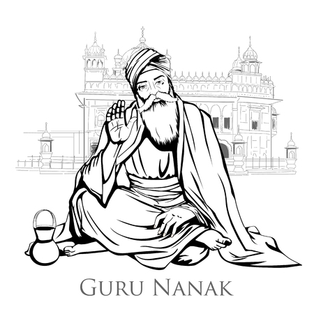 Happy Gurpurab, Guru Nanak Jayanti festival of Sikh celebration background Illustration