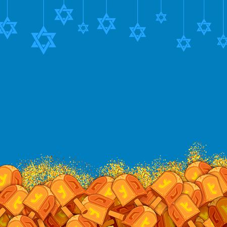 chanukkah: Happy Hanukkah, Jewish holiday background with dreidel