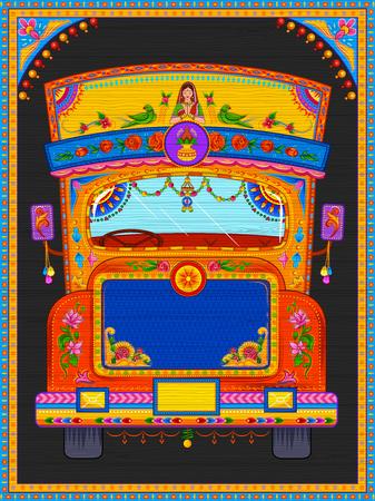 インドのトラック アート キッチュなスタイルにカラフルなウェルカム バナー  イラスト・ベクター素材
