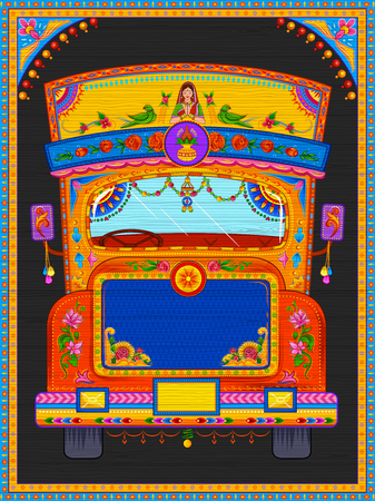 Banners bem-vindos coloridos em estilo kitsch de arte de caminhão da Índia Ilustración de vector