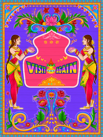 Colorful Visit Again banner in truck art kitsch style of India