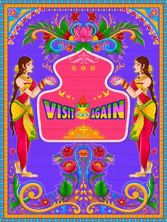 Kleurrijke Bezoek opnieuw banner in de kitschstijl van de vrachtwagenkunst van India