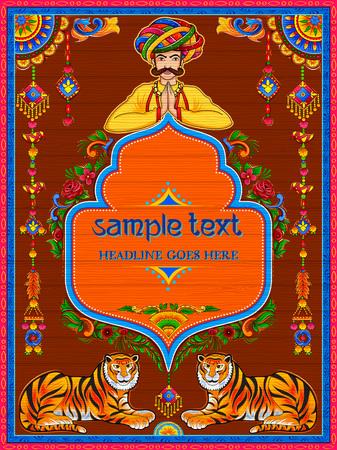 Banner de bienvenida colorido en estilo kitsch de arte de camión de la India Ilustración de vector