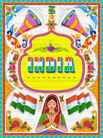 인도의 트럭 아트 키치 스타일의 다채로운 환영 배너