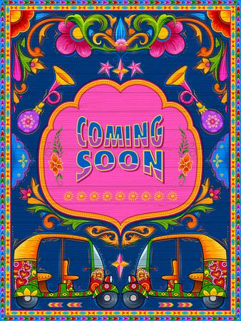 Colorido vindo logo banner no estilo de kitsch de arte de caminhão da Índia