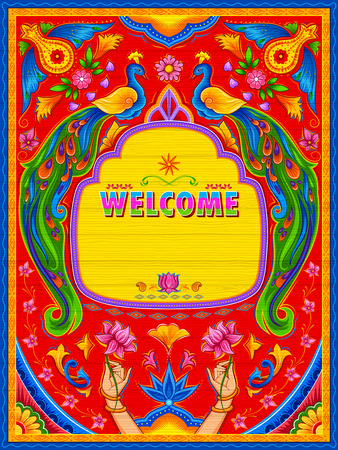 Colorful welcome banner in truck art kitsch style of India
