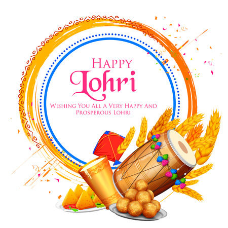 illustration of Happy Lohri holiday background for Punjabi festival Vettoriali