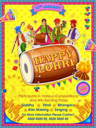 Illustration of Happy Lohri holiday for Punjabi festival